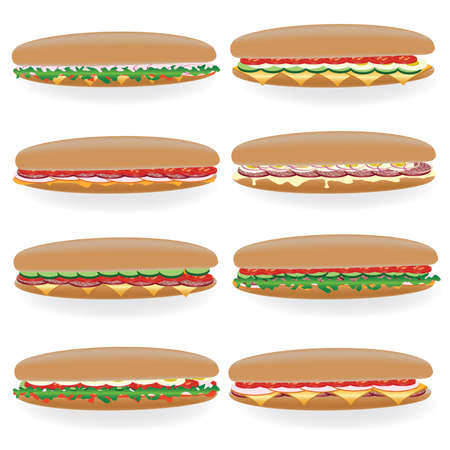 ham sandwich: eight kind of big sandwich on the white background