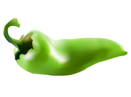 spicy chilli: green chili paprika on the white background