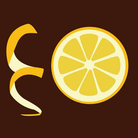 fruited: slice of lemon on the brown background Illustration