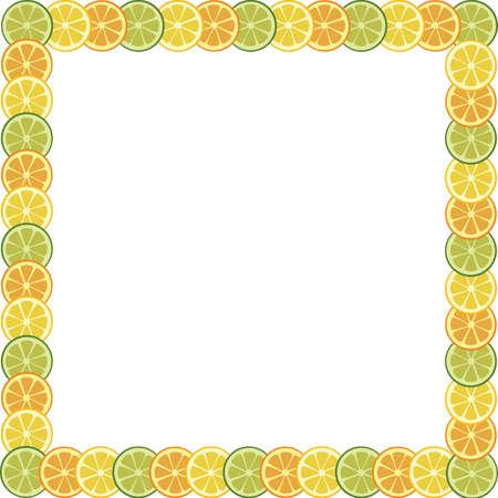 orange cut: marco con naranja, lim�n y Lima