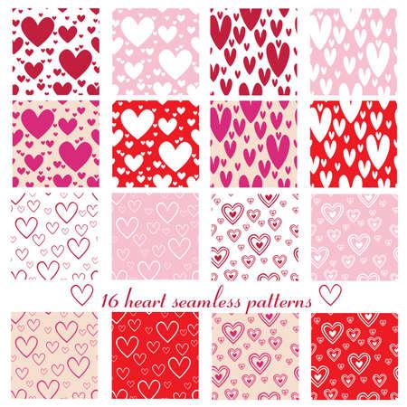 sixteen: set of sixteen heart seamless pattern