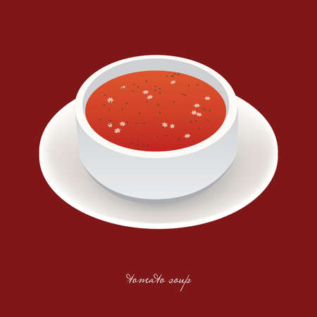 tomato soup in white bowl Vector