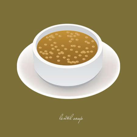 lenteja: sopa de lentejas en recipiente blanco sobre el fondo verde  Vectores