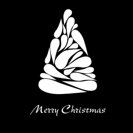 merry christmas - white christmas tree on black background 일러스트