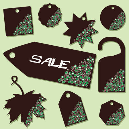 set of sale labels with green dots Stock Vector - 8287443