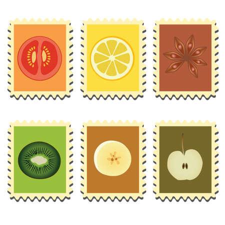 sechs Marken mit Gemüse, Früchte und Gewürze