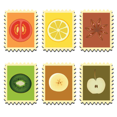 set of six stamps with vegetables, fruits and spice Vector