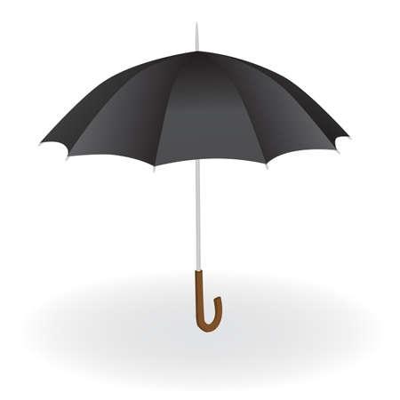 lluvia paraguas: paraguas negro sobre el fondo blanco
