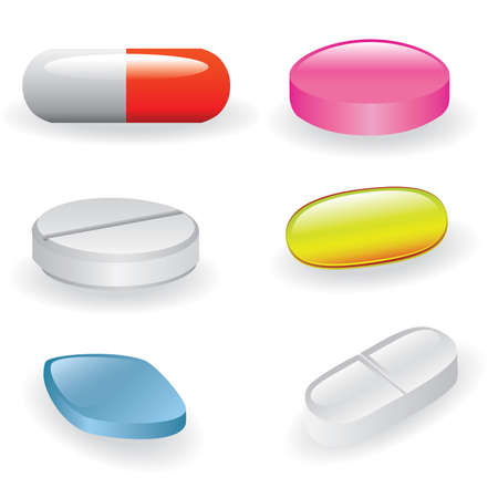 blue pills: set of different pills and capsules Illustration