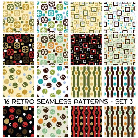 geometric design: 16 seamless retro patterns - set 3