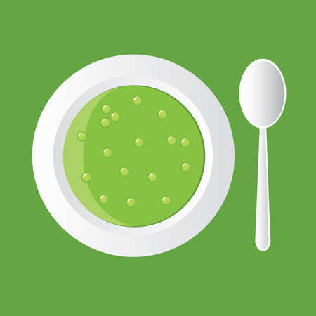 tasty pea soup in white bowl Stock Vector - 8415293