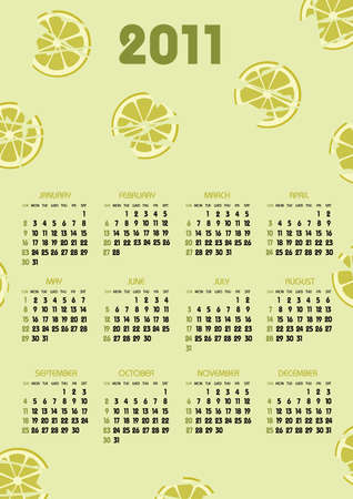 vertical calendar 2011 year with green lime theme Vector