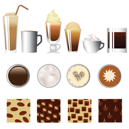 coffee set - different kind of coffee, seamless coffee patterns 矢量图像