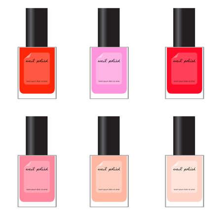 nail salon: set of different nail polish - red, pink Illustration
