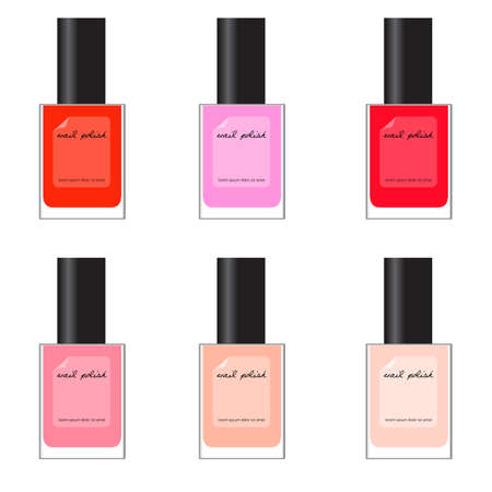 set of different nail polish - red, pink 矢量图像