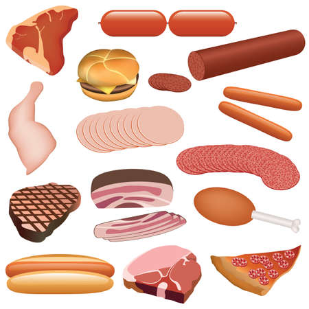 bratwurst: meat set - pork, beef, poultry, salami, frankfurter, cheeseburger, pizza etc