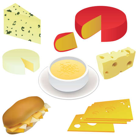 cheese set - swiss cheese, edam cheese, sandwich, cheese soup etc