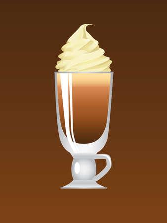 Wiener Kaffee mit lecker Sahne Vektorgrafik
