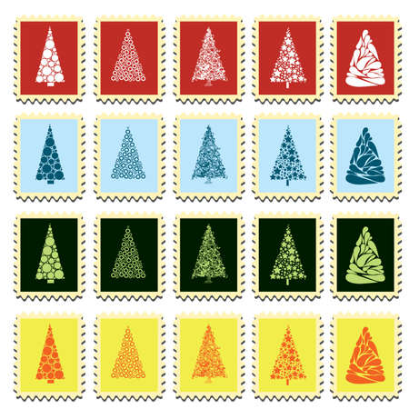 set of stamps with different christmas trees Stock Vector - 8415318