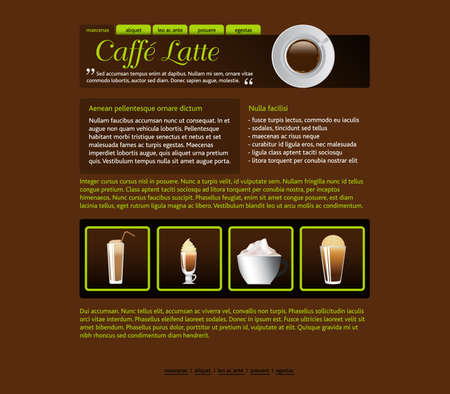 web site design template, coffee house theme Illustration