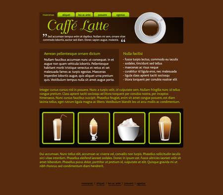 web site design template, coffee house theme 矢量图像