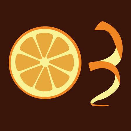 one slice of orange, brown background Stock Vector - 8487930