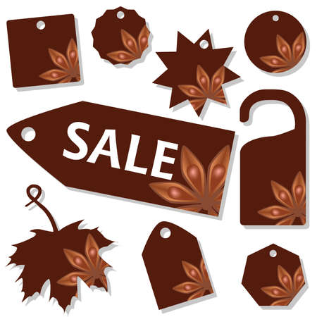 vector set of sale labels with star anise theme Stock Vector - 8487939