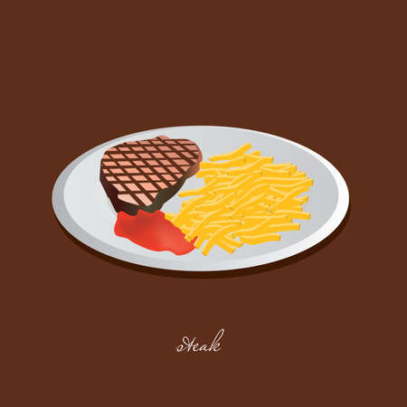 steak plate: steak, chips, ketchup, white plate, brown background Illustration