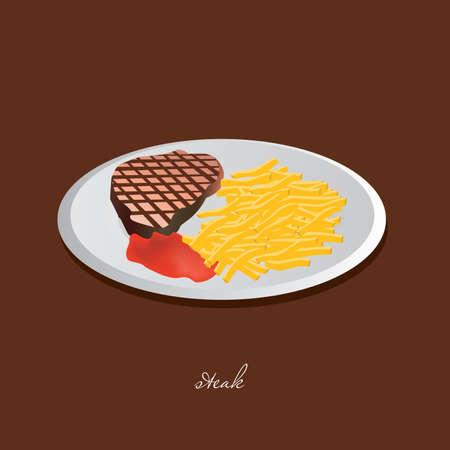 steak plate: Steak, chips, salsa de tomate, plato blanco, marr�n de fondo