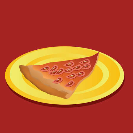 tomato pizza, yellow plate, red background Vector