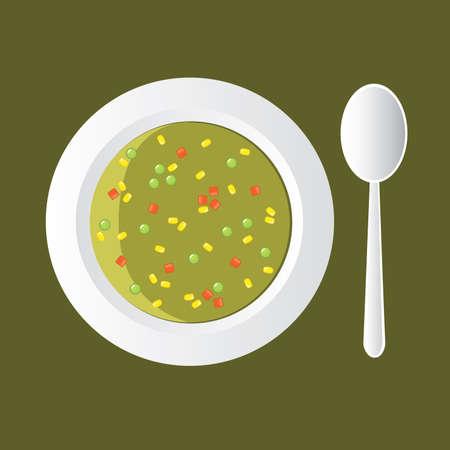 soup spoon: groente soep - met maïs, wortel en pea