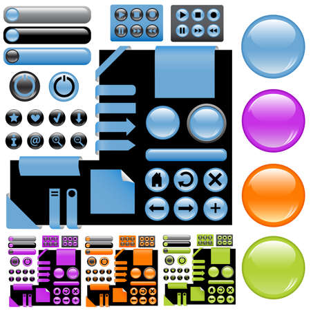 website design elements - buttons in blue, violet. orange and green colors Stock Vector - 8542121