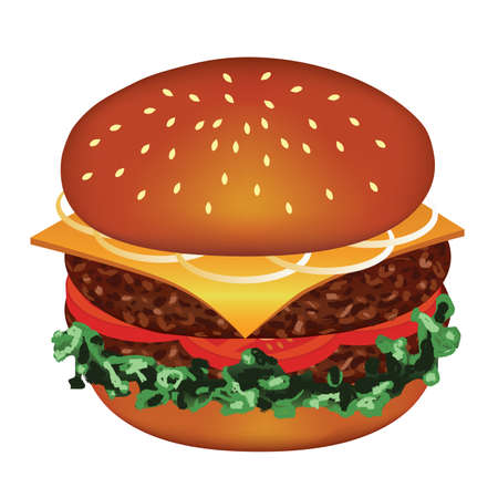 cheeseburger: tasty hamburger with meat, tomato, cheese, salad, onion