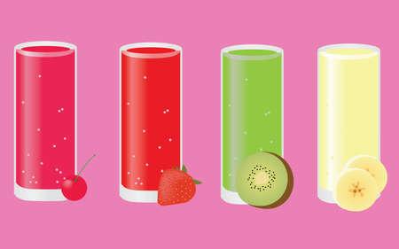 weegbree: cocktails: cherry, strawberry, kiwi, banana Stock Illustratie