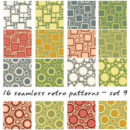 16 9: 16 retro seamles patterns - set 9