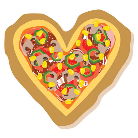 heart shapped pizza - with tomato, salami, corn Vector