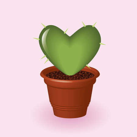 heart shapped cactus in flowerpot Vector