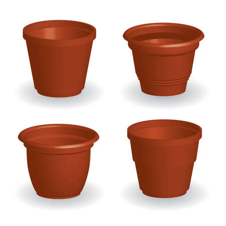 pottery: collection of flowerpots, white background