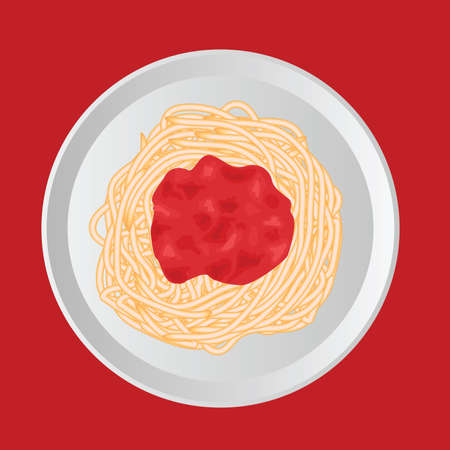 spaghetti with ketchup, white plate, red background Vector