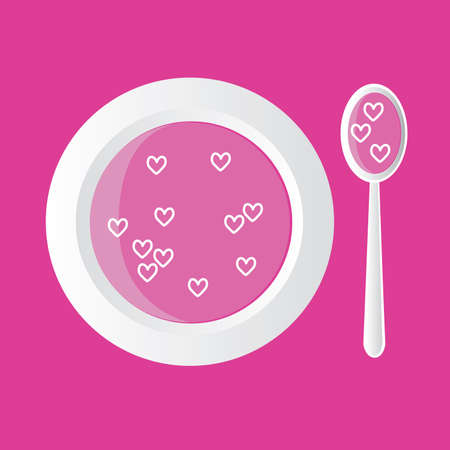 special soup - pink with hearts, pink background Vector