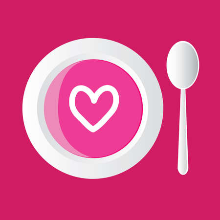dinner date: special soup - pink with heart, pink background