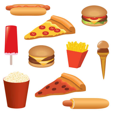 fast food set: hotdog, hamburger, pizza, ice-cream, popcorn etc Vector