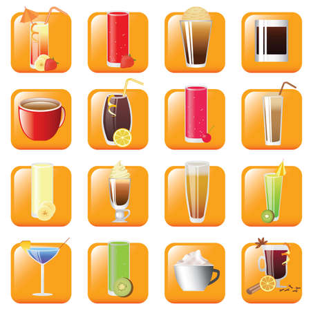 icon set - different kind of drinks Stock Vector - 8688172