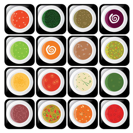 green peas: icon set - different kind of soup Illustration