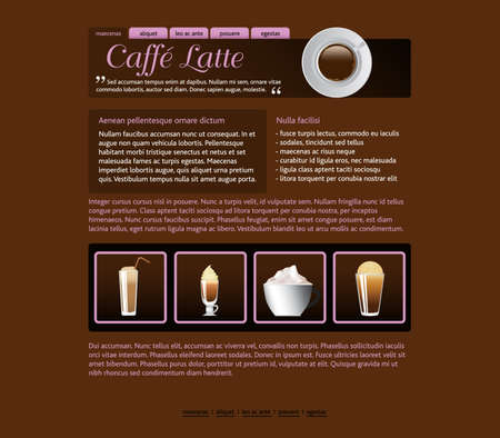 web site design template, coffee house theme Stock Vector - 8801720