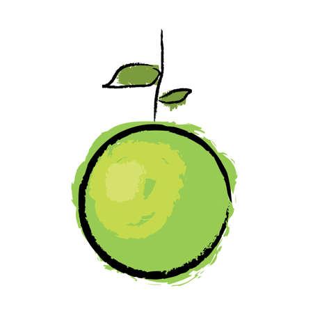 green apple, white background Stock Vector - 8801716
