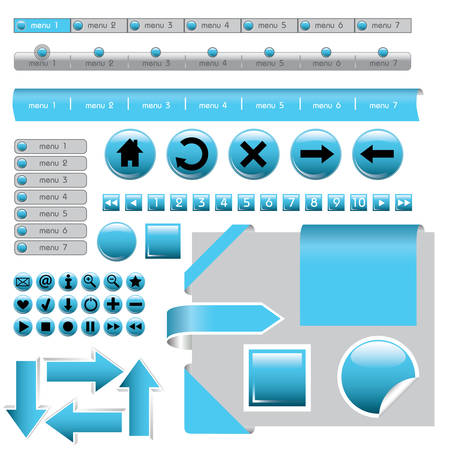website design elements - buttons in blue colors Vector