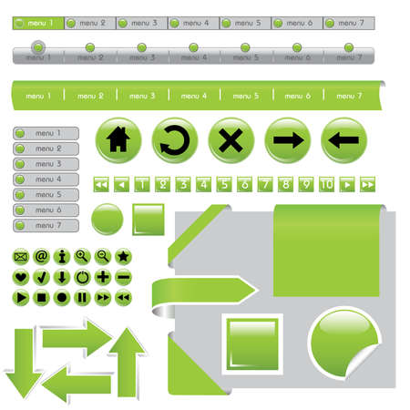 website design elements - buttons in green colors Vector