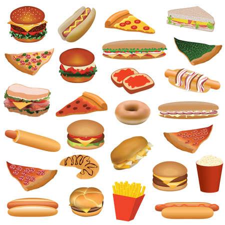 sandwiches: big fast food set Illustration