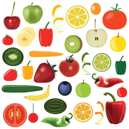 big food set - vegetables and fruits Vector